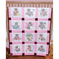 "Girl Bears - Stamped Baby Quilt Blocks 9""X9"" 12/Pkg"