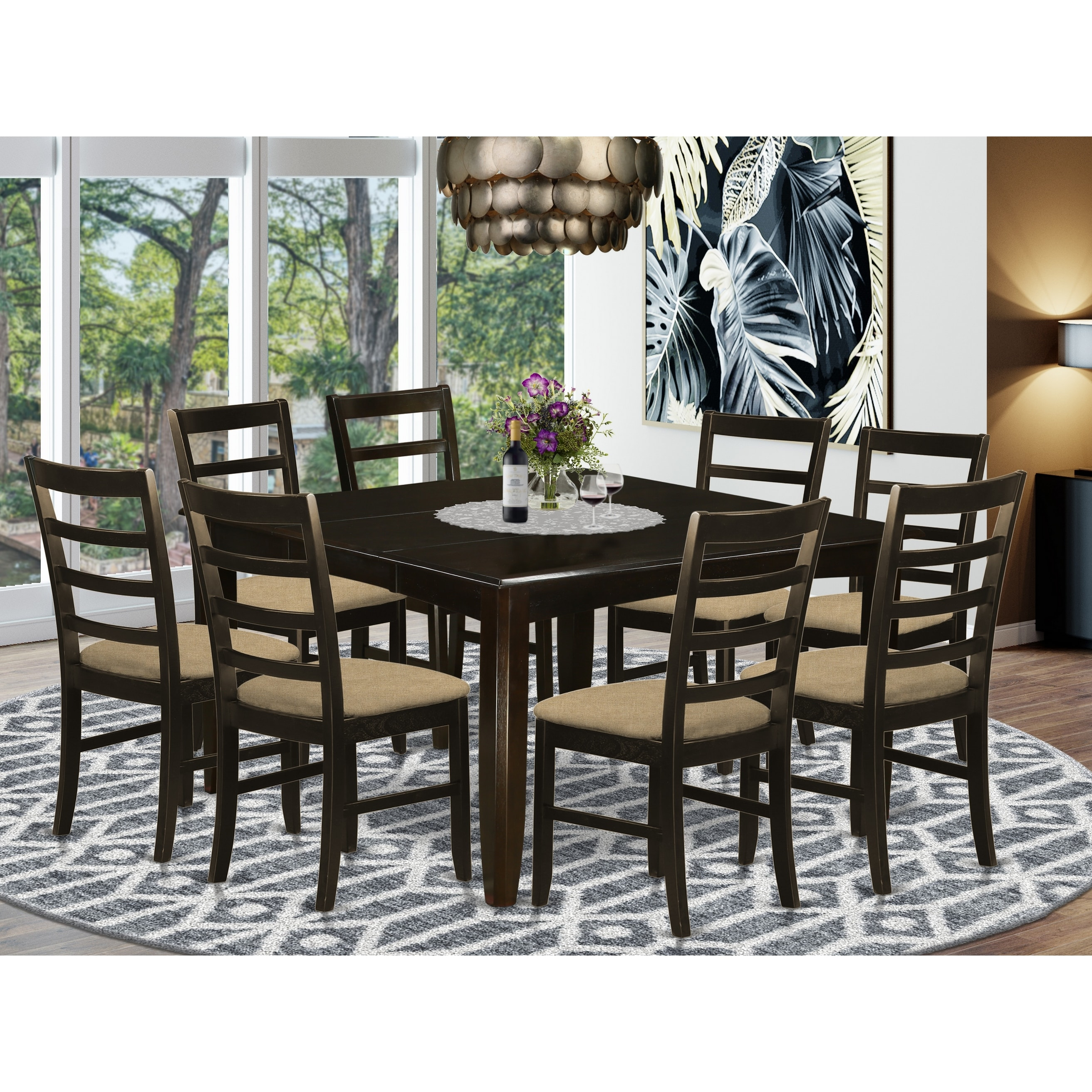 9 Pc Dining Room Set Square Table And 8 Chairs In Cappuccino Finish Overstock 17676459