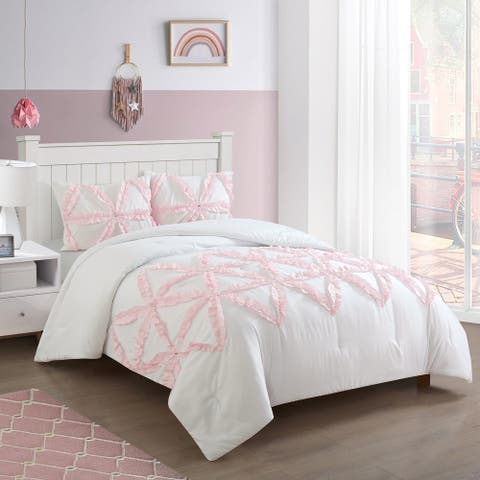 Heritage Club Lola Ruffle Comforter Set with Jewels