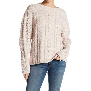 John + Jenn NEW Pink Womens Size Small S Cable-Knit Pullover Sweater
