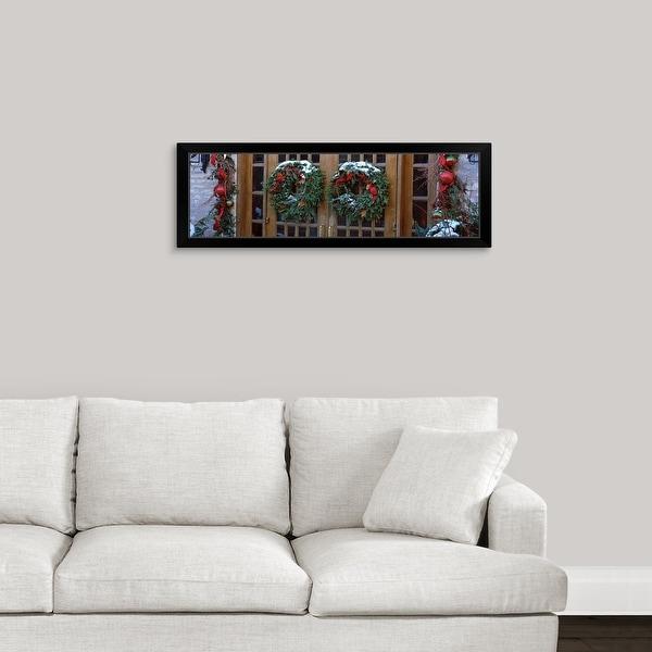 """Christmas wreaths hanging on doors, Grand Rapids, Kent County, Michigan,"" Black Framed Print"
