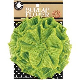 Green - Burlap Flower 4.5""