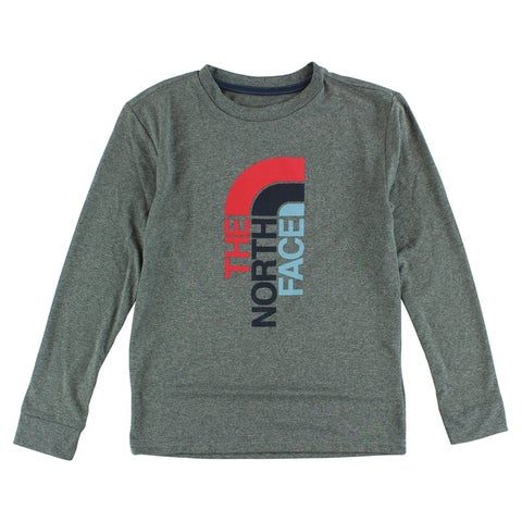 The North Face Boys Long Sleeve Vertical Logo T Shirt Heather Grey - heather grey/red/blue