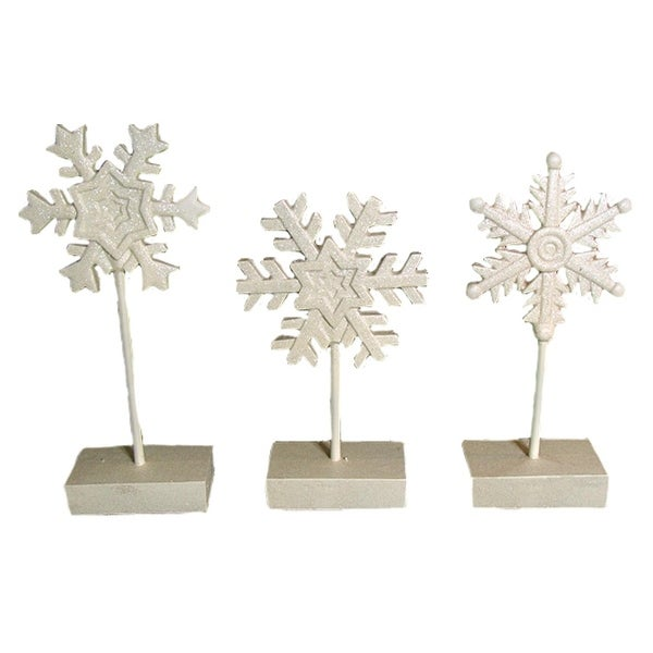 "Set of 3 Winter's Blush Glitter Pedestal Snowflake Christmas Decorations 15"" - WHITE"