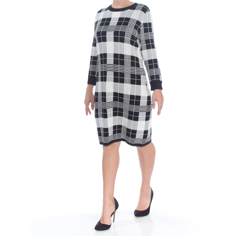 Alexia Admor Womens Ruffle 3//4 Sleeve Crew Neck Lace Dress