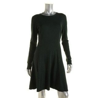 Michael Kors Womens Ribbed Trim Polka Dot Sweaterdress - M