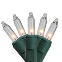 Set of 50 Battery Operated Everglow Clear Mini Christmas Lights - Green Wire