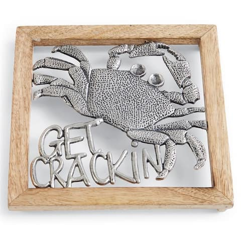 Mud Pie Get Crackin Crab Aluminum and Wood Kitchen Dining Trivet 9 Inches