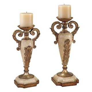 Ambience AM 42305 Victorian Style Set of 2 Candle Holders, Finished in White and Gold