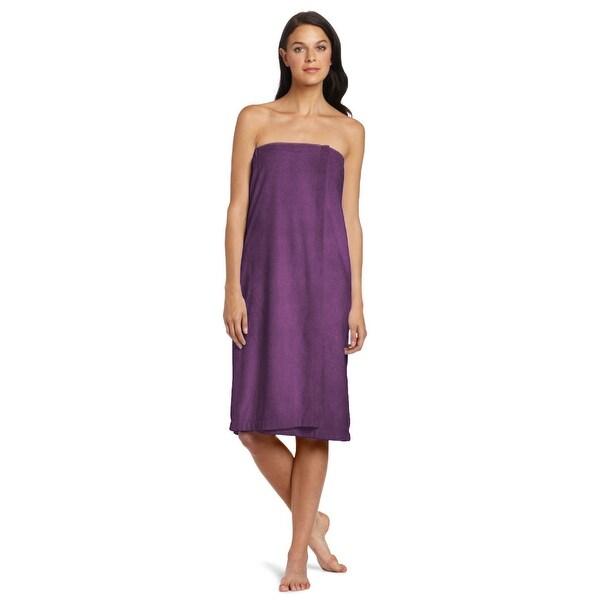 "Eggplant Purple Solid Pattern Rectangular Women Shower Wrap Towel 55.5"" x 32.5"" - N/A"