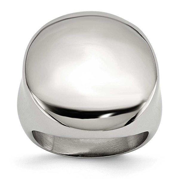 Chisel Stainless Steel Polished Circular Signet Ring (15 mm)