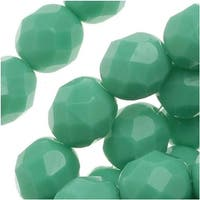 Czech Fire Polished Glass Beads 8mm Round Opaque Green Turquoise (25)
