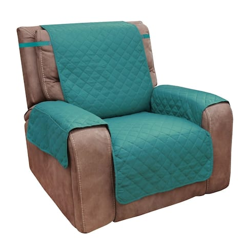 Reversible Slipcover Chair Cover - Quilted Microfiber Protector Slip Cover w/Pockets - Green/Burgundy, Blue/Tan, Brown Tan