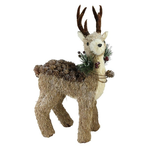 "16"" Sparkling Reindeer Wearing Frosted Wreath Christmas Decoration - brown"