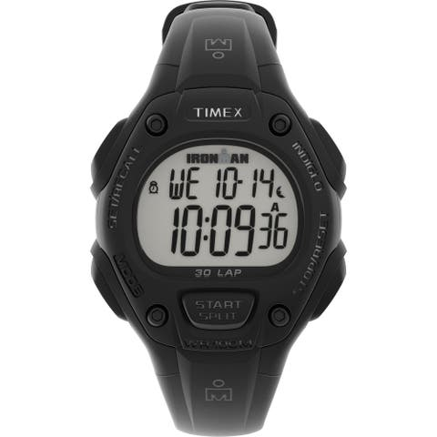 Timex Unisex IRONMAN Classic 30 34mm Resin Strap Watch - Black Case & Top Ring with Black Resin Strap - One Size