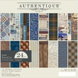 "Rugged; 8 Designs/3 Each - Authentique Double-Sided Cardstock Pad 6""X6"" 24/Pkg"