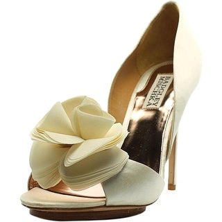 Badgley Mischka Blossom Peep-Toe Canvas Heels