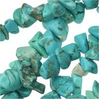 Turquoise Gemstone Beads, Smooth Chip 6-13mm, 16.5 Inch Strand