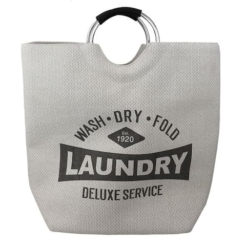 Deluxe Service Canvas Laundry Tote with Padded Aluminum Handles, Grey