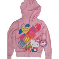 Hello Kitty Little Girls Pink Character Dotted Graphic Zipper Hooded Top 5-6X