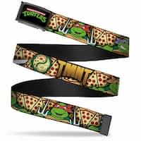 Classic Tmnt Logo Fcg  Chrome Classic Tmnt Turtle Poses Pizza Slices Web Belt