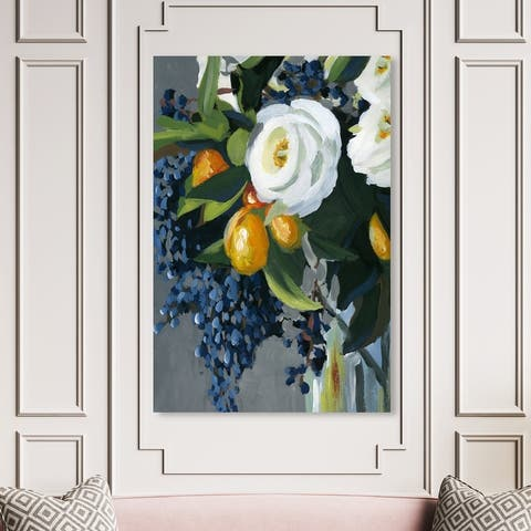 Oliver Gal 'Blueberry Bouquet Custom' Floral and Botanical Wall Art Canvas Print Florals - Green, White
