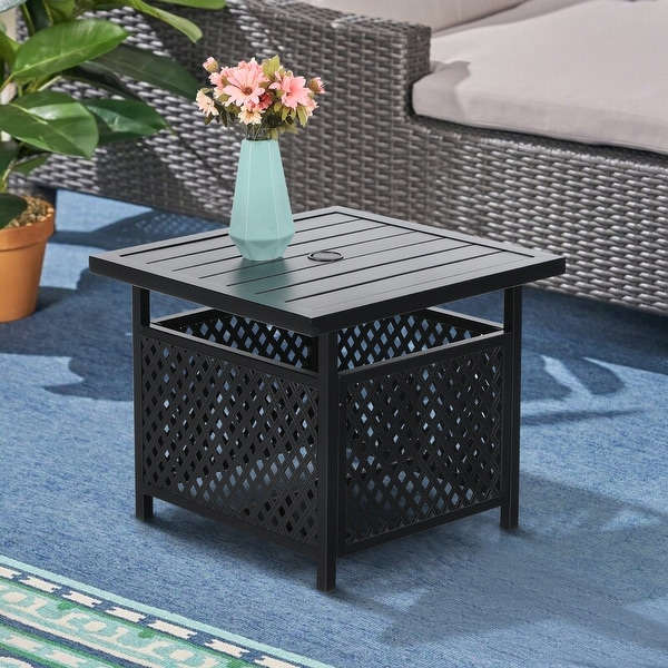 Claribelle Square Side Table with Umbrella Hole by Havenside Home - 22*22. Opens flyout.