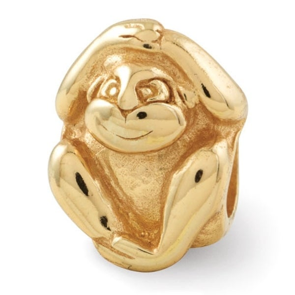 Sterling Silver Reflections Gold-plated Monkey Bead (4mm Diameter Hole)