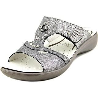 Romika Ibiza 36 Women Open Toe Leather Silver Slides Sandal