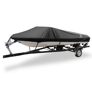 "Link to 17-19ft 96"" 300D Boat Cover Waterproof Black V-Hull Protector Similar Items in Boats & Kayaks"
