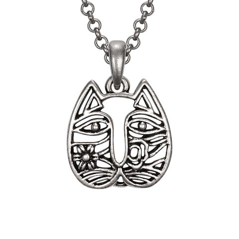 Laurel Burch Silvertone Cat Face Pendant w/ Necklace - 18 X 0.75 X 0.75 inches