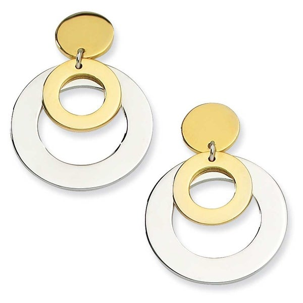 Chisel Stainless Steel IPG 24k Plating Plated Circle Post Dangle Earrings