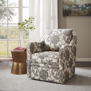 Link to Madison Park Betty Slub Weave Wide Seat Swivel Arm Chair Similar Items in Living Room Chairs