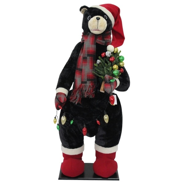 "60"" Red and White LED Christmas Bear Inflatable"