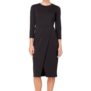 Catherine Malandrino NEW Black Women's Size 4 Sheath Faux Wrap Dress