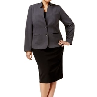 Tahari by ASL NEW Gray Black Women's Size 14W Plus Skirt Suit Set