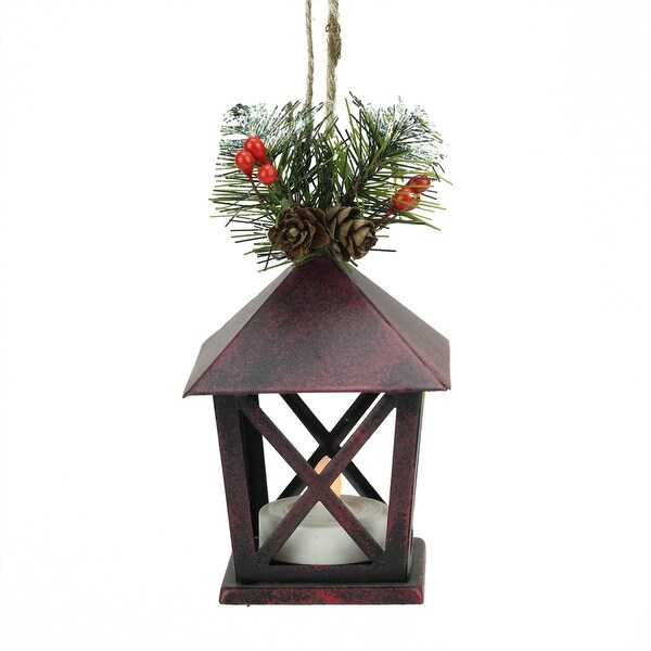 "5"" Country Rustic LED Lighted Red Tone Candle Lantern with Pine Foliage Christmas Ornament"