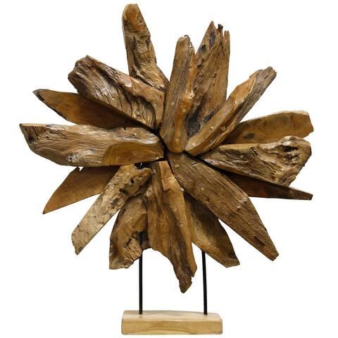 StyleCraft Canno Natural Teak Wood Decorative Sunrise Table Accessory