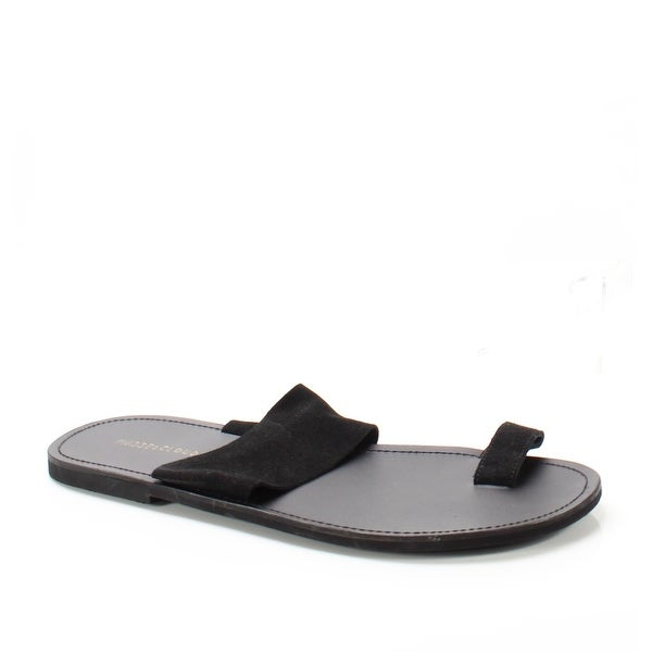 Musse & Cloud NEW Black Women's Size 13M Sarah Suede Flat Sandals