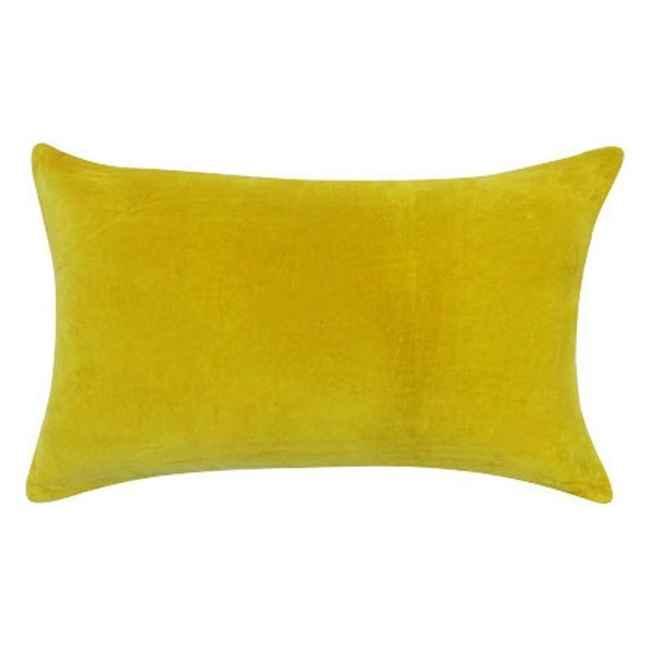 Vivai Home Yellow Solid Color Rectangle 12x 20 Cotton Feather Throw Pillow