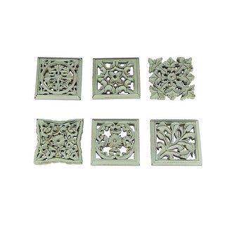 Distressed White Wood Decorative Scrollwork Wall Sculptures Set of 6 - 5 X 5 X 0.75 inches