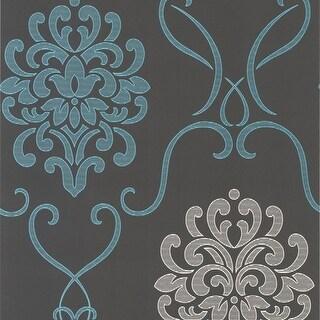 Brewster DL30443 Suzette Aqua Modern Damask Wallpaper