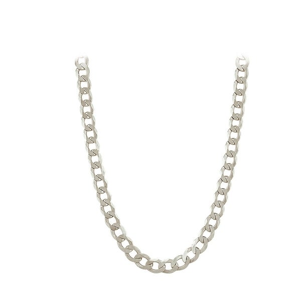 Mcs Jewelry Inc Sterling Silver White 925 Curb Chain Necklace (7.9mm)