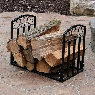 Sunnydaze Designer 2ft Black Firewood Log Rack Heavy Duty Wood Storage Holder