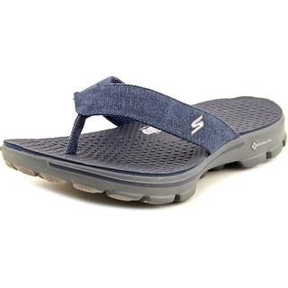 Skechers On The Go Men Open Toe Canvas Blue Slides Sandal