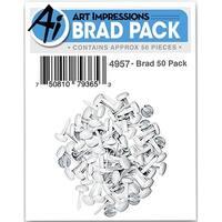 Art Impressions Brads 50/Pkg-White & Silver 3/32 Inch