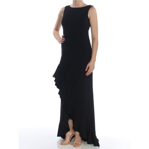 16d32d327bde SALE. CALVIN KLEIN Womens Black Ruffled Sleeveless Jewel Neck Full-Length Formal  Dress Size: 8