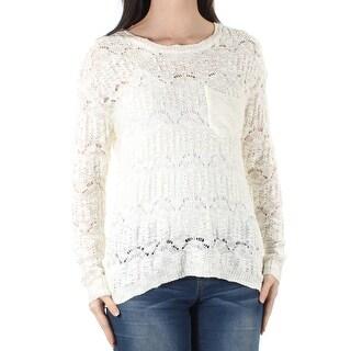Womens Ivory Long Sleeve Jewel Neck Hi-Lo Sweater Size XS