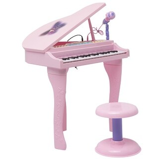 Costway 37 Key Kids Mini Toy Grand Piano Electronic Keyboard w/ Stool & Microphone Pink