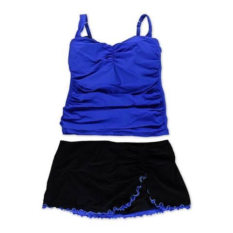 Profile Womens Ruched U-Wire Skirtini 2 Piece Tankini, blue, 22W
